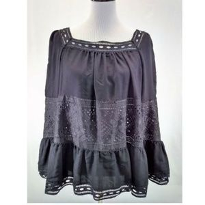 Max Studio London L Blouse Peasant Black 3/4 Slv